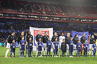 20191116 – LYON ,  FRANCE ; Lyon's players (left to right) Lucy Bronze, Amel Majri, Griedge Mbock, Ada Hegerberg, Saki Kumagai, Dzsenifer Marozsan, Kadeishe Buchanan, Amandine Henry, Selma Bacha, Sarah Bouhaddi and Eugenie Le Sommer are posing with the player escorts at the start of the women's soccer game between Olympique Lyonnais and PARIS SG on the 9th matchday of the French Women's first league , D1 of the 2019-2020 season , Saturday 16 th November 2019 at the Groupama stadium in Lyon , France . PHOTO SPORTPIX.BE   SEVIL OKTEM