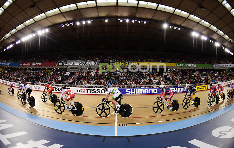 Picture by Alex Broadway/SWpix.com - 06/03/2016 - Cycling - 2016 UCI Track Cycling World Championships, Day 5 - Lee Valley VeloPark, London, England - A general view of the Women's Omnium Points Race.