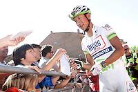 Cheng Ji with the fans before the stage of La Vuelta 2012 between La Robla and Lagos de Covadonga.September 2,2012. (ALTERPHOTOS/Acero) /NortePhoto.com<br /> <br /> **CREDITO*OBLIGATORIO** <br /> *No*Venta*A*Terceros*<br /> *No*Sale*So*third*<br /> *** No*Se*Permite*Hacer*Archivo**<br /> *No*Sale*So*third*