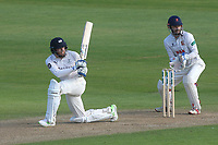 Johnny Bairstow hits 4 runs for Yorkshire as James Foster looks on from behind the stumps during Essex CCC vs Yorkshire CCC, Specsavers County Championship Division 1 Cricket at The Cloudfm County Ground on 4th May 2018