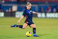 FRISCO, TX - MARCH 11: Abby Dahlkemper #7 of the United States crosses the ball during a game between Japan and USWNT at Toyota Stadium on March 11, 2020 in Frisco, Texas.