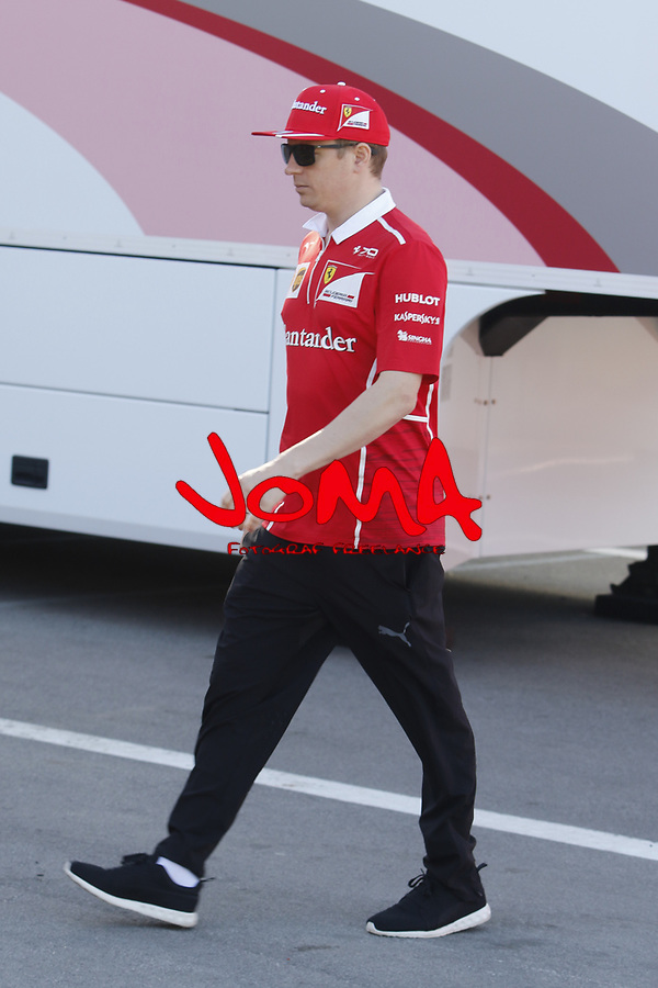 Kimi Raikonen in Paddock at Spanish Grand Prix . Barcelona-Catalunya track