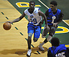 Jared Hall, left, dribbles downcourt as Jeremy Clarke guards him during a Long Island Nets open tryout at LIU Post's Pratt Center in Brookville, NY on Saturday, Sept. 30, 2017.