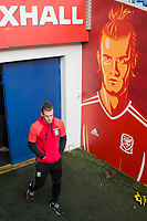 Gareth Bale walks out of the tunnel to watch Wales national team training ahead of the World Cup Qualification match against Republic of Ireland at Cardiff City Stadium, Cardiff, Wales on 8 October 2017. Photo by Mark  Hawkins.