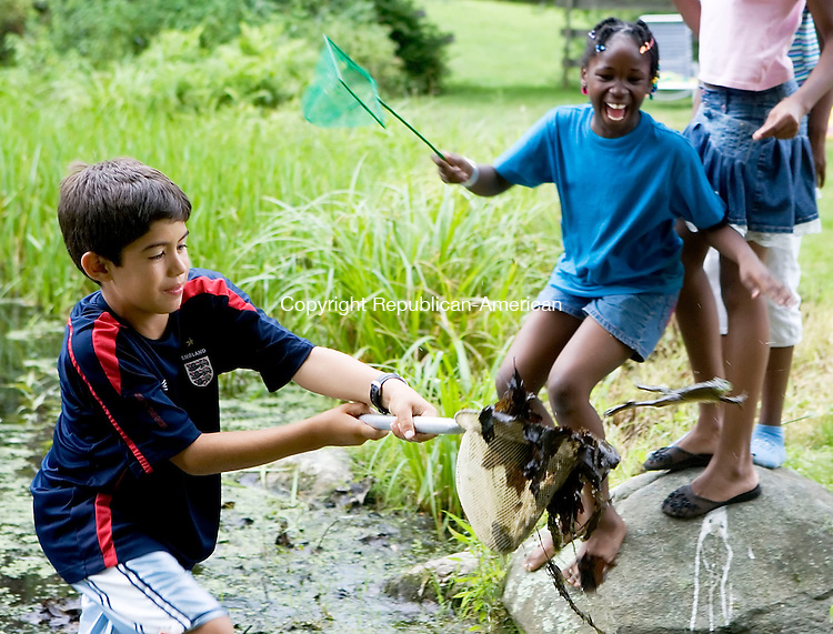 WOODBURY, CT -20 JULY 06- 072006JT05-<br /> Aaron Schein, 9, from Manhattan, lets a frog jump out of his net as Arlene Wright, 10, from the Bronx, loudly alerts others of the frog's escape during a picnic near a pond on Weekeepeemee Road in Woodbury. The children are spending about two weeks in Woodbury and other surrounding towns with host families as part of the Fresh Air Fund, bringing children from cities to the country.<br /> Josalee Thrift Republican-American