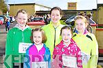 Runners at the Muire Gan Smál 5km in Castleisland on Sunday morning l-r: Roisin Brosnan, Noranne Hartnett, Mary Theresa and Abbie Kelliher and Lissie Mai Hartnett