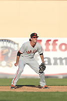 Brandon Bednar (19) of the San Jose Giants in the field during a game against the Lancaster JetHawks at The Hanger on April 11, 2015 in Lancaster, California. San Jose defeated Lancaster, 8-3. (Larry Goren/Four Seam Images)