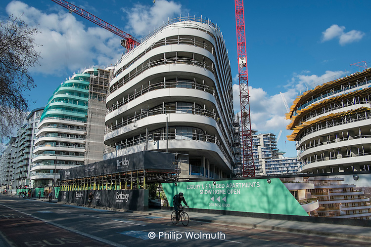 Construction of Berkeley apartment blocks on the 480 acre Nine Elms regeneration zone, London.  The zone will include two new tube stations, a new US Embassy building, and 20,000 new  homes with prices up to £9 million.