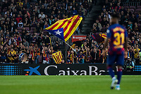 29th October 2019; Camp Nou, Barcelona, Catalonia, Spain; La Liga Football, Barcelona versus Real Valladolid; Pro independence supporters at FC Barcelona stadium waves their flags - Editorial Use