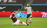 West Ham United's Robert Snodgrass challenges Charlton Athletic's Erhun Oztumer<br /> <br /> Photographer Rob Newell/CameraSport<br /> <br /> Carabao Cup Second Round Northern Section - West Ham United v Charlton Athletic - Tuesday 15th September 2020 - London Stadium - London <br />  <br /> World Copyright © 2020 CameraSport. All rights reserved. 43 Linden Ave. Countesthorpe. Leicester. England. LE8 5PG - Tel: +44 (0) 116 277 4147 - admin@camerasport.com - www.camerasport.com