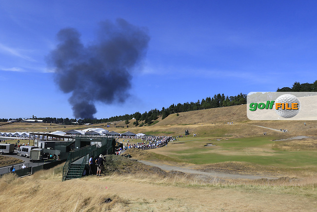 Fire in a storage unit during Saturday's Round 3 of the 2015 U.S. Open 115th National Championship held at Chambers Bay, Seattle, Washington, USA. 6/21/2015.<br /> Picture: Golffile | Eoin Clarke<br /> <br /> <br /> <br /> <br /> All photo usage must carry mandatory copyright credit (&copy; Golffile | Eoin Clarke)