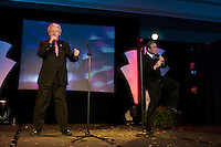 Professional Bill Clinton and George Bush impersonators Dale Leigh and John Morgan perform 'The Presidents' Rap' during the Sunburst Convention of Professional Tribute Artists