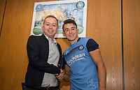 Cherry Red Records Owner poses with his MOTM Luke O'Nien of Wycombe Wanderers during the Friendly match between Wycombe Wanderers and AFC Wimbledon at Adams Park, High Wycombe, England on 25 July 2017. Photo by Andy Rowland.