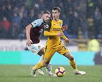 Brighton & Hove Albion's Solly March under pressure from Burnley's Charlie Taylor<br /> <br /> Photographer Rich Linley/CameraSport<br /> <br /> The Premier League - Burnley v Brighton and Hove Albion - Saturday 8th December 2018 - Turf Moor - Burnley<br /> <br /> World Copyright © 2018 CameraSport. All rights reserved. 43 Linden Ave. Countesthorpe. Leicester. England. LE8 5PG - Tel: +44 (0) 116 277 4147 - admin@camerasport.com - www.camerasport.com