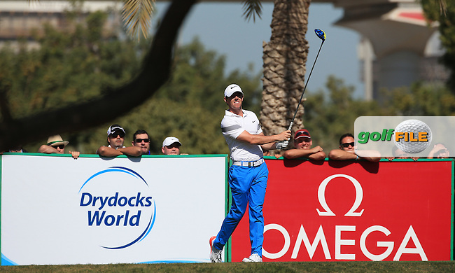 Rory McIlroy (NIR) in action during Round Three of the 2016 Omega Dubai Desert Classic, played on the Emirates Golf Club, Dubai, United Arab Emirates.  06/02/2016. Picture: Golffile | David Lloyd<br /> <br /> All photos usage must carry mandatory copyright credit (&copy; Golffile | David Lloyd)