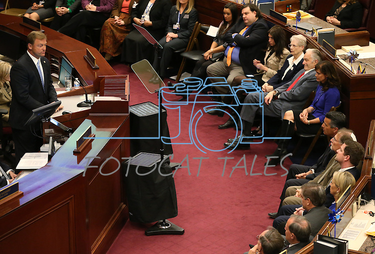 Republican U.S. Sen. Dean Heller speaks to the Nevada Legislature in Carson City, Nev., on Monday, April 6, 2015. <br /> Photo by Cathleen Allison