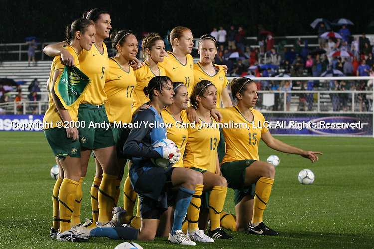 27 April 2008: Australia's starters pose for a team photo. The United States Women's National Team defeated the Australia Women's National Team 3-2 at WakeMed Stadium in Cary, NC in a rain delayed women's international friendly soccer match.
