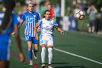 Allston, MA - Saturday August 19, 2017: Amanda Frisbie, Marta Vieira Da Silva during a regular season National Women's Soccer League (NWSL) match between the Boston Breakers and the Orlando Pride at Jordan Field.