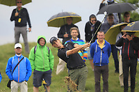 Thomas Pieters (BEL) in the rough on the 5th during Round 3 of the D+D Real Czech Masters at the Albatross Golf Resort, Prague, Czech Rep. 02/09/2017<br /> Picture: Golffile | Thos Caffrey<br /> <br /> <br /> All photo usage must carry mandatory copyright credit     (&copy; Golffile | Thos Caffrey)