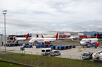 RIONEGRO, COLOMBIA - MAY 12: Three airplanes of the Avianca airline settles on the runway of the José María Córdoba International Airport on May 12, 2020 in Rionegro. Avianca filed for bankruptcy in the United States on May 11, 2020 to reorganize its debt due to the impact of the coronavirus pandemic. (Photo by Fredy Builes / VIEWpress via Getty Images)