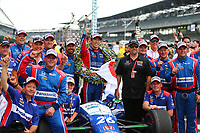 May 28, 2017; Indianapolis, IN, USA; IndyCar Series driver Takuma Sato (left) celebrates with team owner Michael Andretti and crew after winning the 101st Running of the Indianapolis 500 at Indianapolis Motor Speedway. Mandatory Credit: Mark J. Rebilas-USA TODAY Sports