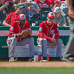 6 March 2016: Washington Nationals Manager Dusty Baker takes notes alongside his bench coach Chris Speier during a Spring Training pre-season game against the St. Louis Cardinals at Roger Dean Stadium in Jupiter, Florida. The Nationals defeated the Cardinals 5-2 in Grapefruit League play. Mandatory Credit: Ed Wolfstein Photo *** RAW (NEF) Image File Available ***