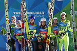 Podium of the Normal Hill Ski Jumping mixed team event as part of the Winter Universiade Trentino 2013 on 17/12/2013 in Predazzo, Italy.<br /> <br /> &copy; Pierre Teyssot - www.pierreteyssot.com