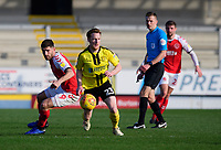 Fleetwood Town's Ched Evans vies for possession with Burton Albion's Stephen Quinn<br /> <br /> Photographer Chris Vaughan/CameraSport<br /> <br /> The EFL Sky Bet League One - Saturday 23rd February 2019 - Burton Albion v Fleetwood Town - Pirelli Stadium - Burton upon Trent<br /> <br /> World Copyright © 2019 CameraSport. All rights reserved. 43 Linden Ave. Countesthorpe. Leicester. England. LE8 5PG - Tel: +44 (0) 116 277 4147 - admin@camerasport.com - www.camerasport.com