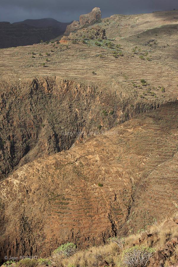 Les  barrancos de la Guancha and barranco dEl Cabrito dans le sud gomera sont très arides....Arid barranco de la Guancha and barranco dEl Cabrito in the souh of gomera. Untill a few decades ago, the terraces was covered in barley and wheat