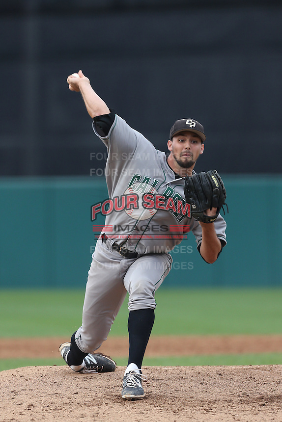 Reed Reilly #41 of the Cal Poly Mustangs pitches against the USC Trojans at Dedeaux Field on March 2, 2014 in Los Angeles, California. Cal Poly defeated USC, 5-1. (Larry Goren/Four Seam Images)