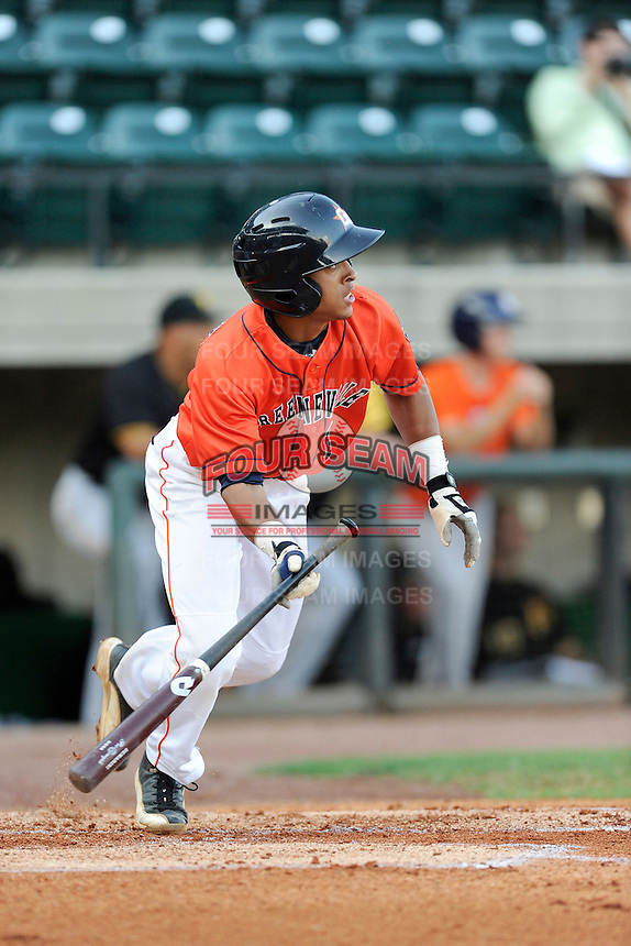 Shortstop Antonio Nunez (1) of the Greeneville Astros bats in a game against the Bristol Pirates on Friday, July 25, 2014, at Pioneer Park in Greeneville, Tennessee. Greeneville won, 9-4. (Tom Priddy/Four Seam Images)
