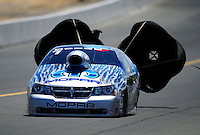 Jul. 17, 2010; Sonoma, CA, USA; NHRA pro stock driver Allen Johnson during qualifying for the Fram Autolite Nationals at Infineon Raceway. Mandatory Credit: Mark J. Rebilas-