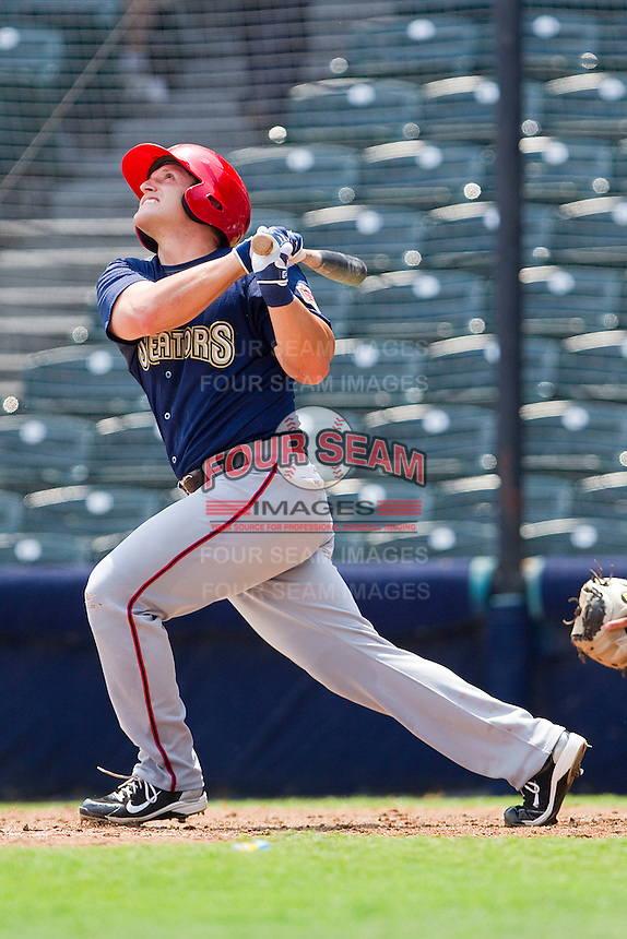 Adam Fox #8 of the Harrisburg Senators at bat against the Richmond Flying Squirrels at The Diamond on July 22, 2011 in Richmond, Virginia.  The Squirrels defeated the Senators 5-1.   (Brian Westerholt / Four Seam Images)