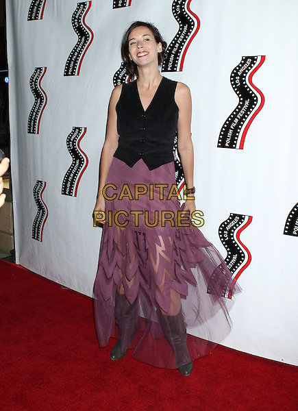 Balbina Bruszewska<br /> 13th annual Polish film festival at American Cinematheque's Egyptian Theatre, Hollywood, California, USA.<br /> 9th October 2012<br /> full length black waistcoat purple skirt grey gray boots chiffon sleeveless<br /> CAP/ADM/RE<br /> &copy;Russ Elliot/AdMedia/Capital Pictures