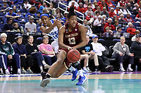 GREENSBORO, NC - MARCH 06: Taylor Soule #13 of Boston College drives the lane during a game between Boston College and Duke at Greensboro Coliseum on March 06, 2020 in Greensboro, North Carolina.