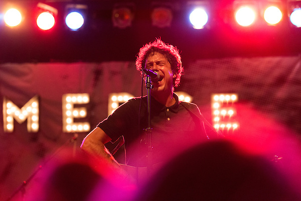 July 24, 2014. Carrboro, North Carolina.<br />  Chris Lopez of Rock A Teen.<br />  Day two of the MERGE 25 festival, celebrating the 25 year history of the independent record label.
