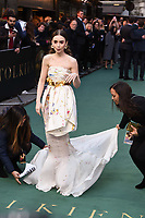 "LONDON, UK. April 29, 2019: Lily Collins arriving for the ""TOLKIEN"" premiere at the Curzon Mayfair, London.<br /> Picture: Steve Vas/Featureflash"