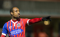 Justin Hoyte of Dagenham & Redbridge gives instructions during the Sky Bet League 2 match between Dagenham and Redbridge and Wycombe Wanderers at the London Borough of Barking and Dagenham Stadium, London, England on 9 February 2016. Photo by Andy Rowland.