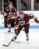 Patrick Wey (BC - 6), Philip Samuelsson (BC - 5) - The Northeastern University Huskies defeated the Boston College Eagles 3-2 on Friday, February 19, 2010, at Matthews Arena in Boston, Massachusetts.