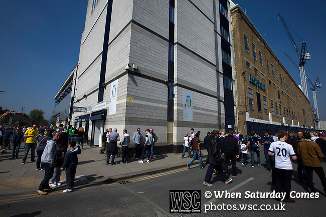 Tottenham Hotspur 4 Watford 0, 08/04/2017. White Hart Lane, Premier League. Supporters at the corner of the South and East Stands before Tottenham Hotspur took on Watford in an English Premier League match at White Hart Lane. Spurs were due to make an announcement in April 2016 regarding when they would move out of their historic home and relocate to Wembley as their new stadium was completed. Spurs won this match 4-0 watched by a crowd of 31,706, a reduced attendance figure due to the ongoing ground redevelopment. Photo by Colin McPherson.