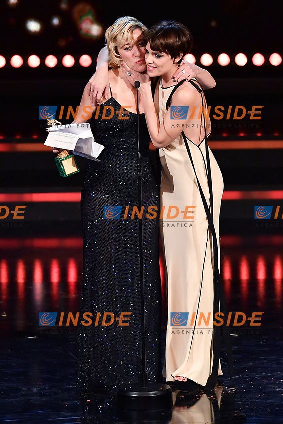 Valeria Bruni Tedeschi e Micaela Ramazzotti<br /> Roma 27-03-2017. Premio David di Donatello 2017.<br /> Rome March 27th 2017. David di Donatello ceremony 2017. <br /> Foto Antonello Sammarco/Image/Insidefoto