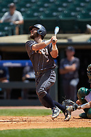 Wade Bailey (3) of the Georgia Tech Yellow Jackets follows through on his swing against the Miami Hurricanes during game one of the 2017 ACC Baseball Championship at Louisville Slugger Field on May 23, 2017 in Louisville, Kentucky. The Hurricanes walked-off the Yellow Jackets 6-5 in 13 innings. (Brian Westerholt/Four Seam Images)