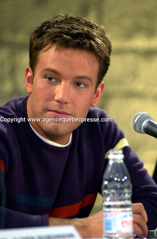 Montreal,April 9, 2001<br /> American actor Ben Affleck speaks at a press conference for the movie `` Sum of all fears ``, currentlly beeing shot in Montreal, CAnada by film maker Phil Alden Robinson.<br /> <br /> Affleck plays CIA analyst Jack Ryan in the 4th movie  based on a Tom Clancy's novel and produced by Mace Neufeld.<br /> <br /> Photo by Pierre Roussel / I Photo<br /> <br /> NOTE :  color corrected D-1 file, saved asAdobe 1998 RBG Color space