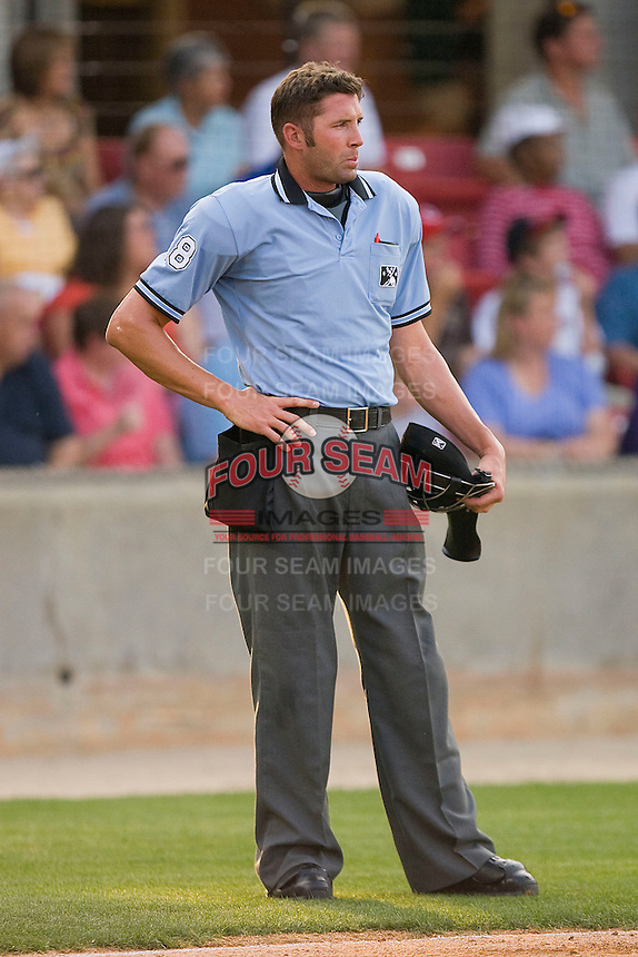 Home plate umpire Travis Carlson between innings of the Southern League game between the Jacksonville Suns and the Carolina Mudcats at Five County Stadium May 15, 2010, in Zebulon, North Carolina.  Photo by Brian Westerholt /  Seam Images