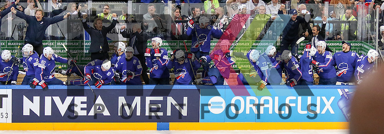 Jubel der Franzosen ist gro&szlig; im Spiel IIHF WC15 France vs. Lativa.<br /> <br /> Foto &copy; P-I-X.org *** Foto ist honorarpflichtig! *** Auf Anfrage in hoeherer Qualitaet/Aufloesung. Belegexemplar erbeten. Veroeffentlichung ausschliesslich fuer journalistisch-publizistische Zwecke. For editorial use only.