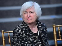 Washington, DC - April 15, 2016: Yanet Yellen, Chair of the Board of Governors, U.S. Federal Reserve, waits before posing for a group photo with members of the G20 finance ministers and central bank governors during the IMF/World Bank Spring Meetings, April 15, 2016.  (Photo by Don Baxter/Media Images International)