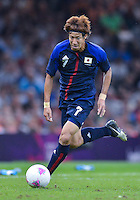 August 10, 2012..Japan's Yuki Otsu in action during bronze medal match at the Millennium Stadium on day fourteen in Cardiff, England. Korea defeat Japan 2-0 to win Olympic bronze medal in men's soccer. ..