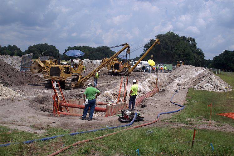 The pipe has to be held level and in the correct alignment for a road bore to succeed.