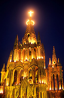 Night time exposure photo famous Parish Church town square San Miguel de Allende Mexico .