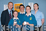 SCHOOL BANK: Colm Cooper presenting prizes to the winners of the Mercy Mounthawk draw for students who participated in the AIB Build a Bank challenge on Wednesday 21st May. Pictured l-r: Colm Cooper, Nicole Moriarty (winner), John O'Donnell (school bank), Laura O'Sullivan (winner) and Ciara O'Sullivan (AIB). A special thanks from the students went to Marie O'Sullivan (Youth Rep, AIB).
